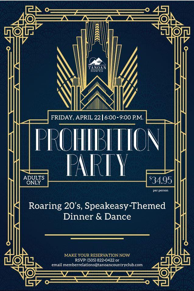 Roaring 20's Speakeasy Gatsby theme event flyer poster