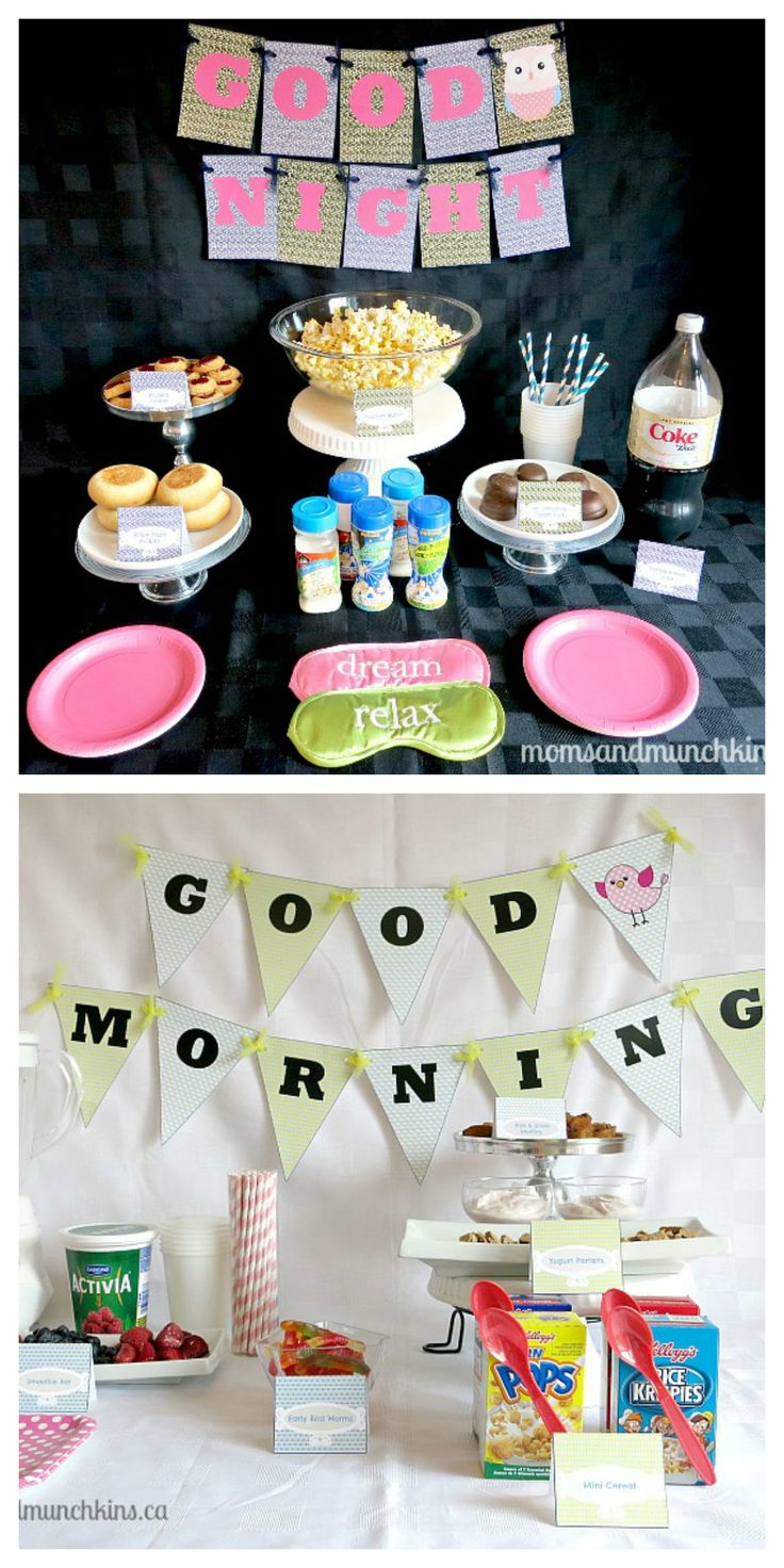 Slumber Party Ideas perfect for children or teens. Includes free printables, food ideas, activity idea and more! #KidsParties