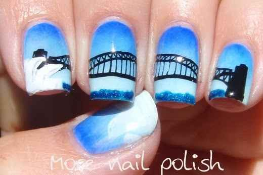 Sydney Harbour Scene | 27 Awesome Nail Art Designs For Australia Day