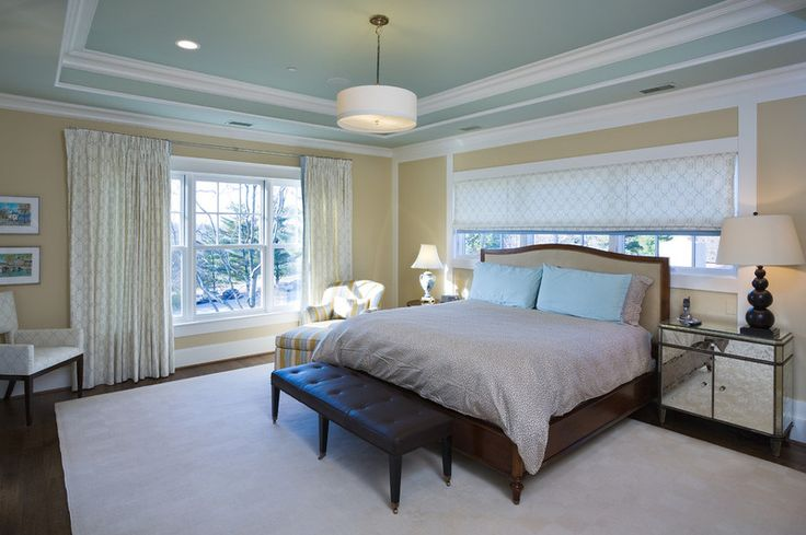 Paint tray ceiling and room ceiling the same color and Master bedroom ceiling colors