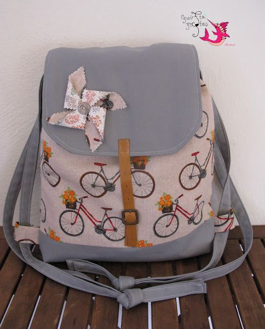handmade backpack #handmade #backpacks #pinwheel #retro #bicycles
