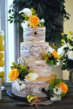 Sunflower Wedding Cake Birch Tree | Birch tree+Flowers...Wedding cake by #the cake zone, www.thecakezone ...