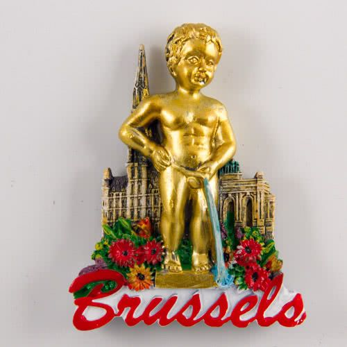 Resin Fridge Magnet: Belgium. Symbols of Brussels - Statue of Manneken Pis