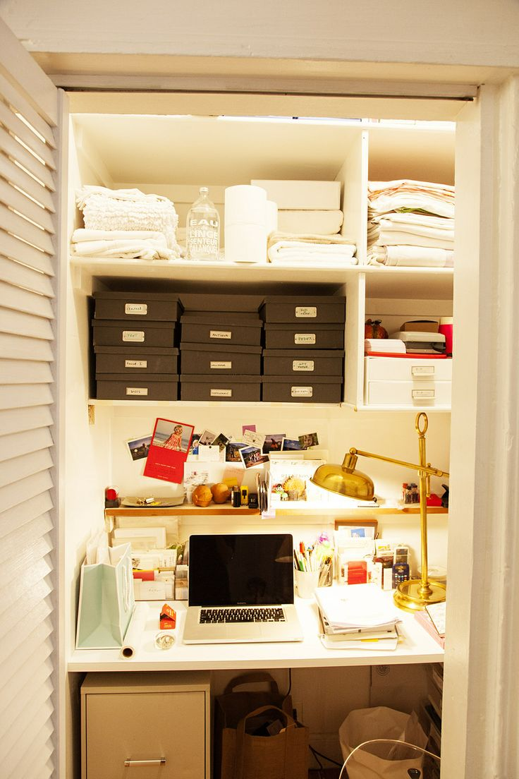 19 best office ideas images on pinterest closet office office rita konig s converted closet office in ny photographed by the selby i love this idea i wish i had a spare closet laying around
