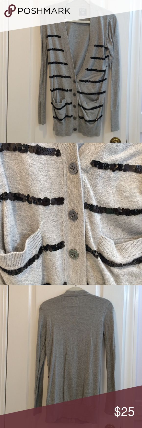NWOT Pink VS Cardigan. Gray with black sequins. Never worn. Long v neckline. 100% cotton. Machine wash. PINK Victoria's Secret Sweaters Cardigans