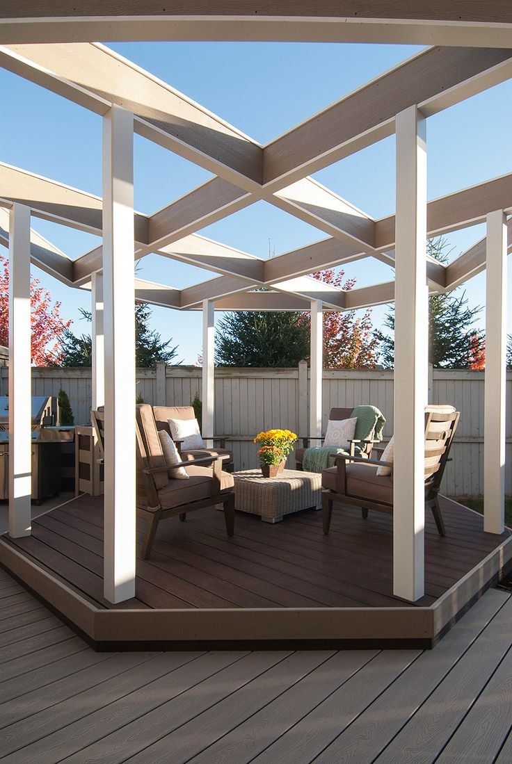 A funky octagonal pergola defines the dedicated lounge for What does pergola mean