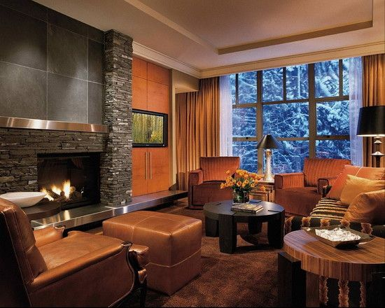 Cozy family room.  Interesting fireplace.Modern Fireplaces, Stones Fireplaces, Fireplaces Design, Families Room Design, Contemporary Families Room, Living Room, Fireplaces Wall, Fireplaces Surroundings, Stainless Steel