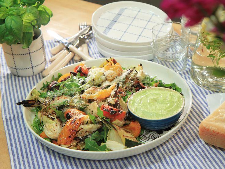 Grillade grönsaker med basilika- och citronmajonnäs | Recept från Köket.se