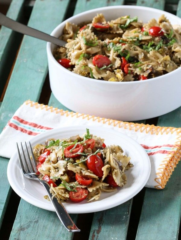 A healthy and flavor packed pasta salad made with roasted vegetables and walnut pesto! Get the recipe on BHG's Delish Dish: http://www.bhg.com/blogs/delish-dish/2014/05/14/roasted-vegetable-pasta-salad/