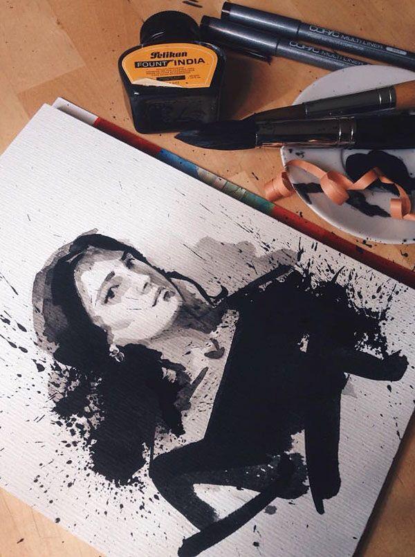 WIP Self portrait with Indian ink  #ink #black #indianink #winsorandnewton #sketch #painting #art #artist #pelikanink #pelikan #workinprogress #selfportrait #black #backinblack #hahnemuehle #vsco #vscocam #düsseldorf #germany #davinci #brush @winsorandnewton @watercolor.blog @pelikan_international @hahnemuehle @pelikan_tr @davinci_artistbrushes_official