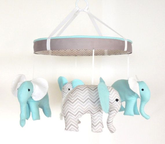 Love this elephant mobile from Etsy listing at http://www.etsy.com/listing/160156049/aqua-grey-baby-mobile-nursery-mobile