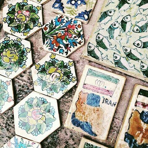 "Cute tiles for you! 🌹🌷🌼🌸🌸🌻🌺 .  Flowers have a lot of meaning in Iranian culture and one of them is beauty. In Iranian art and poetry flowers is really important! There are a lot of painting of flowers in the mosque and monument. Sometims they remind us paradise. In Persian literature it is same! If you wanna say my love is  beautiful you can make your sentence more beautiful ""my love is flower!"" 🌼🌻🌷❤💖 Photo by Jasmina Dekmer a Kind tourist from Belgium."