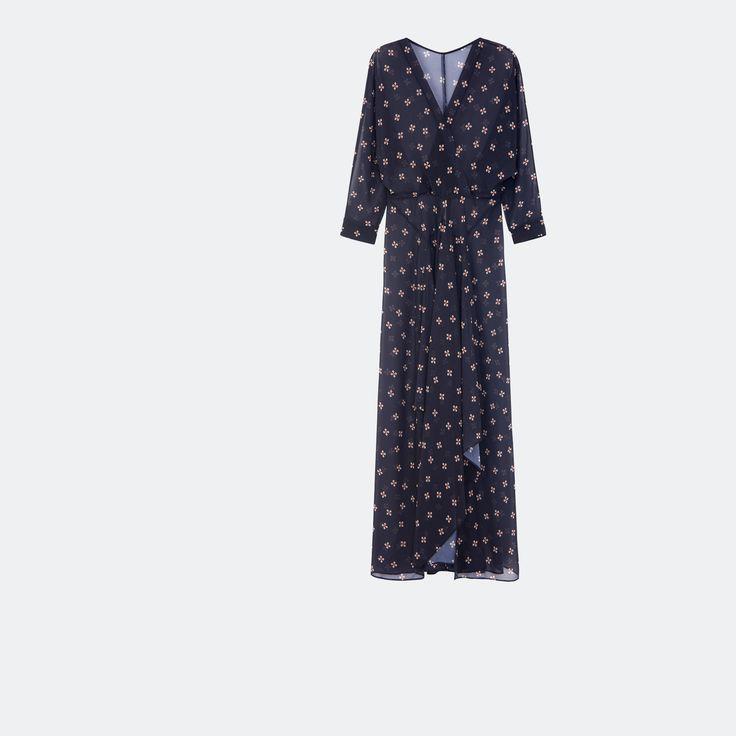 Robe longue fluide imprimée - Robes - Maje.com