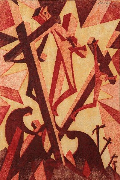 Golgotha by Sybil Andrews (1898-1992); color lino-cut dated 1931