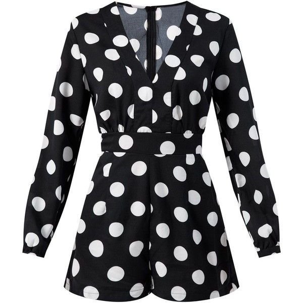Madam Rage Monochrome Long Sleeve Polka Dot Playsuit (£26) ❤ liked on Polyvore featuring jumpsuits, rompers, dresses, romper, polka dot rompers, polka dot romper, long sleeve v neck romper, v neck romper and long-sleeve romper