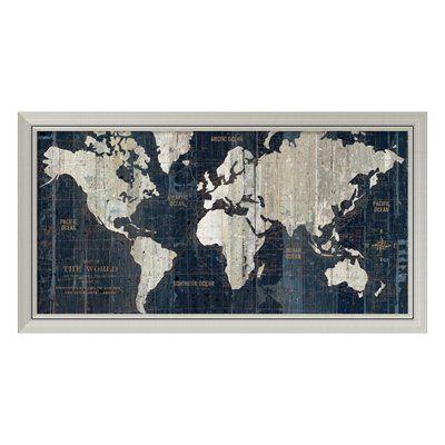 Amanti Art DSW979492 'Old World Map Blue' Framed Art Print
