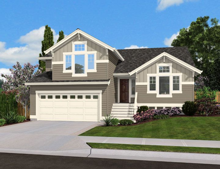 Split Level Home Plan For Narrow Lot Jd St Floor Master Suite Cad