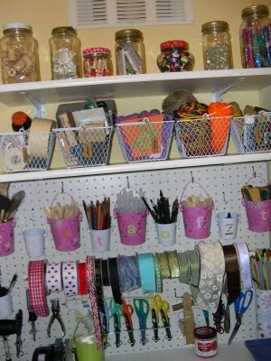 Craft Closet and Rolling Craft Cart: this is absolutely brilliant! I think I even have one of these old sewing tables in the basement. Ahhhhh! so perfect.