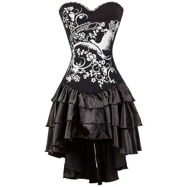 Killreal Women's Steampunk Gothic Corset Dress Halloween Costume (445 ZAR) ❤ liked on Polyvore featuring costumes, womens gothic costumes, steam punk costume, womens costumes, gothic lolita costume and ladies halloween costumes