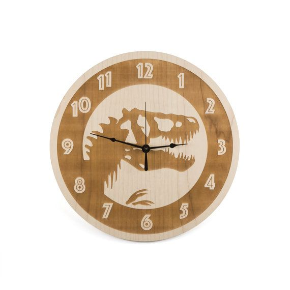 Kids Room Decor Large Wall Clock Maple Wood Trex Clock Dinosaur Clock  Tyrannosaurus Clock Jurassic Clock Dino Archeology Home Decor Part 97