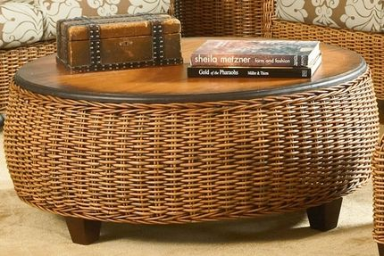 Clarissa Coffee Table In bold tropical styling, the drum shaping will command attention at the center of any furniture grouping. Bowed sides feature densely woven natural rattan core fibers with classic cable braiding at the edges. A burnished wood top with a darker rim and subtle beveling fades to a warm honey finish at the center. Taper block feet are also wood, giving the Clarissa table solid support that contributes to its premium construction and robust profile. As part of a larger…