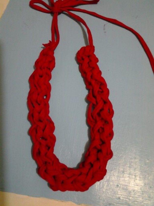 Collane a maglie - Collana in fettuccia rossa - un prodotto unico di lfrancio su DaWanda