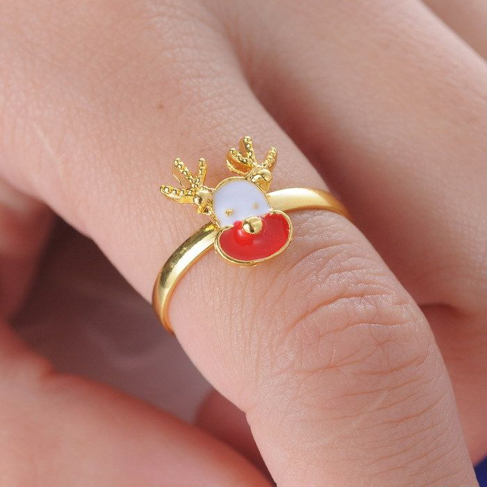 Christmas gold color Deer With White And Red And Antlers Ring Party Rings Beauty Anillos Cute 2015 Festival women Gifts
