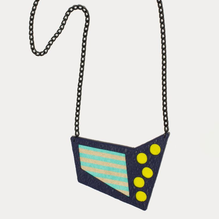 Handmade polymer clay fashion stylish bib statement conteporary minimal geometric necklace by DesignsbyLimeLight on Etsy