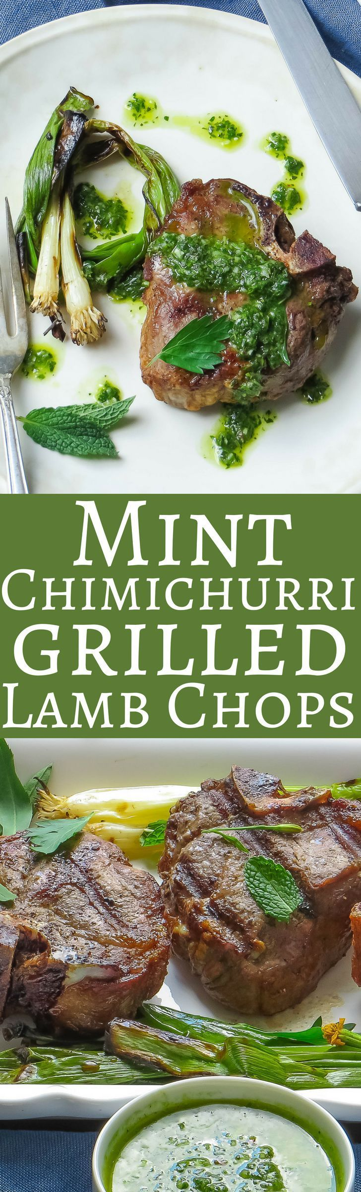 This easy recipe for grilled lamb is ready in half an hour. Serve with a simple chimichurri loaded with fresh herbs, garlic and mint! It's perfect for Spring!