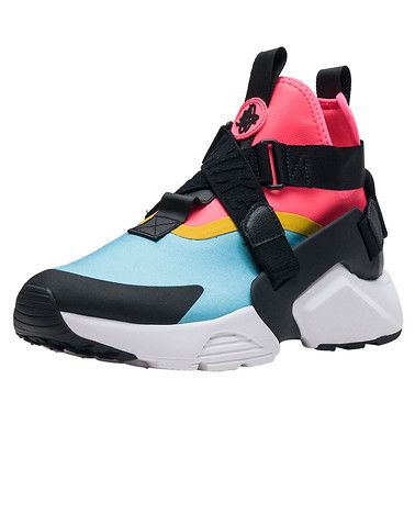 13f1dedd3920 NIKE Huarache City Women s high top sneaker Slip on construction Strap  detail across upper Multicolor Heel cage with embroidered NIKE logo Rubber  outsole.