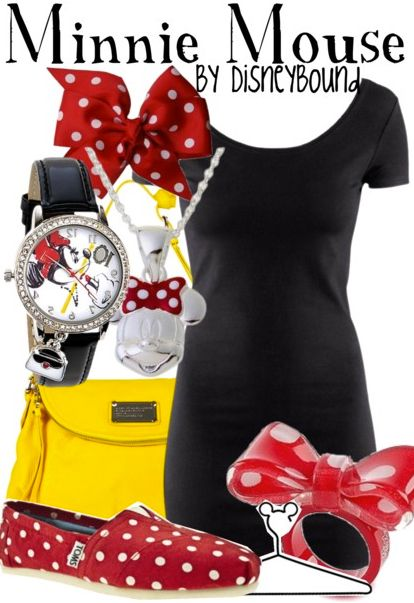 Disneybound Minnie Mouse w/ yellow converse for like a casual dress look
