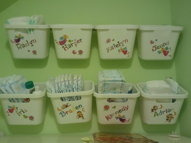Diaper storage for daycare. Best idea of mine and Kimmy's