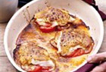 Kabeljauw met mosterd-sojasaus en tomaten