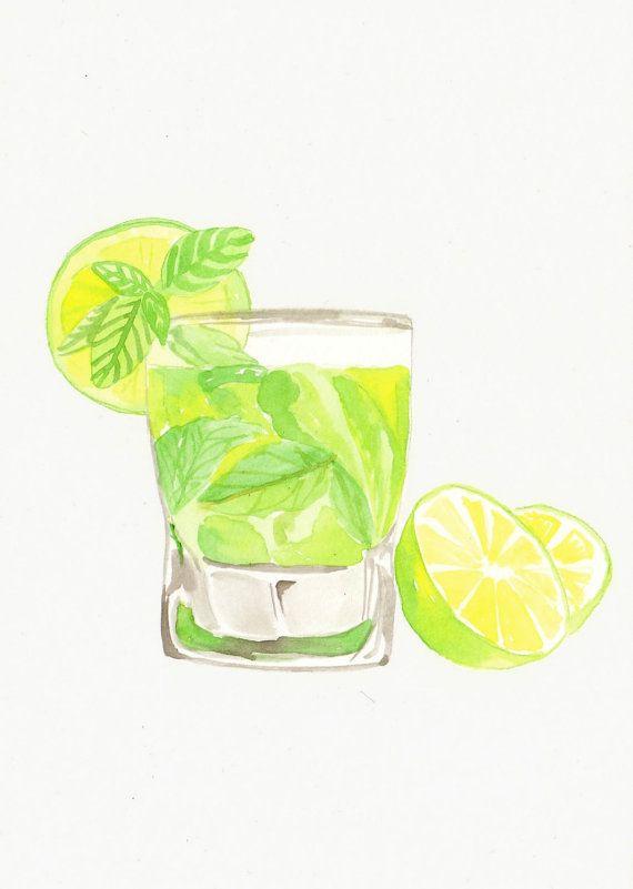 Acquarello originale - Mojito Cocktail