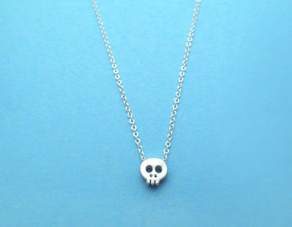 Skull necklace Sterling Silver skull necklace gift for her Dainty skull necklace