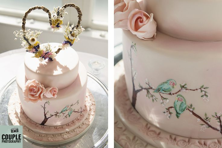 The gorgeous pastel pink wedding cake with love birds. Weddings at Tulfarris Hotel by Couple Photography.