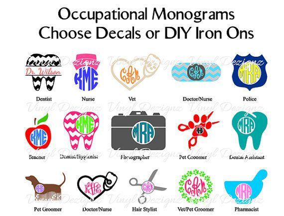 Occupational Monograms Decals Diy Iron Ons Dentist