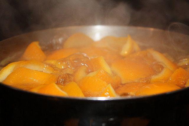 Boil orange peels with a half teaspoon of cinnamon on low heat.