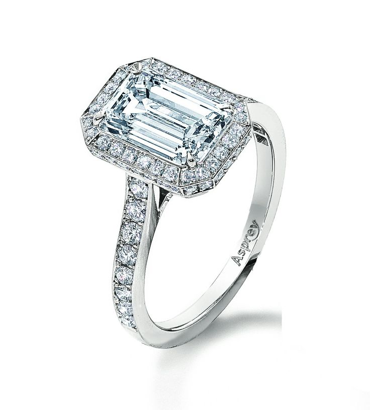 Asprey Victorian Mount halo engagement ring, set with a 2ct emerald-cut diamond