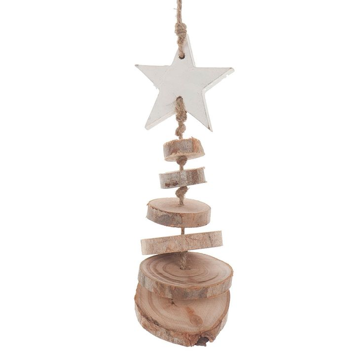 Hanger Boom van Plakken Hout met witte kerstster bovenin. Afmetingen: lengte 25 cm. - Hanger Boom van Plakken Hout