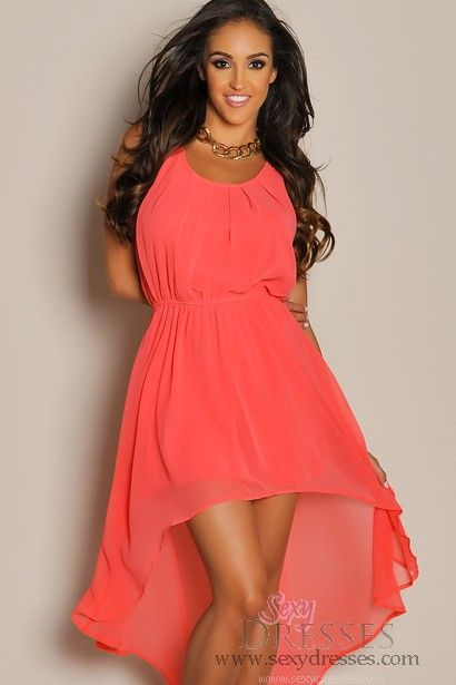 Sleeveless summer coral high low maxi dress summer for Hi lo dress wedding guest