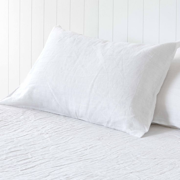 Milkcloud White Pure Linen Pillowcases by Montauk Style