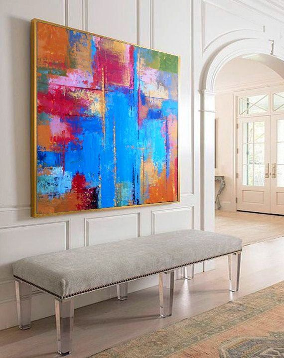 Oil Painting Original Large Oversize Painting Colorful Painting Blue Painting Red Painting Orange Painting Abstract Oil Painting On Canvas