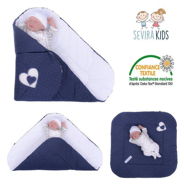 Image Gigoteuse d'emmaillotage nid d'ange naissance coton Hearts Bleu marine SEVIRA KIDS