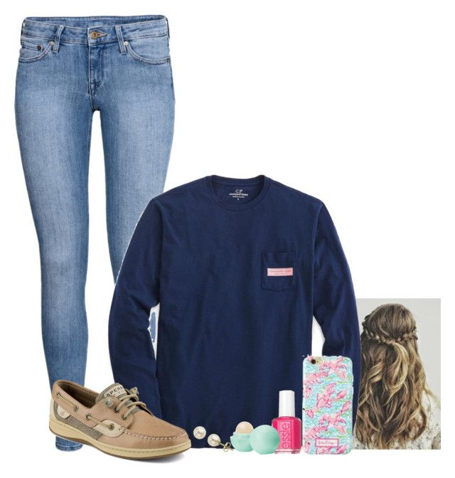 """""""2nd Place in my Soccer Tourney!"""" by lolo56 ❤ liked on Polyvore featuring H&M, Vineyard Vines, Sperry Top-Sider, Essie, Eos, Lord & Taylor and justalolooutfit"""