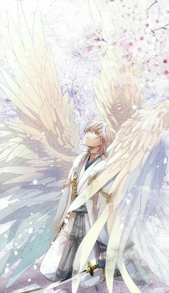 Anime boy, angel, wings, white; Anime Guys