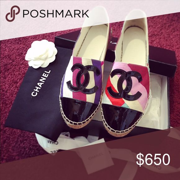 Chanel espadrilles multi-color Spring16 collection New. Worn once. Size 7 (37). Authentic. Have dust bad and original box. CHANEL Shoes Espadrilles