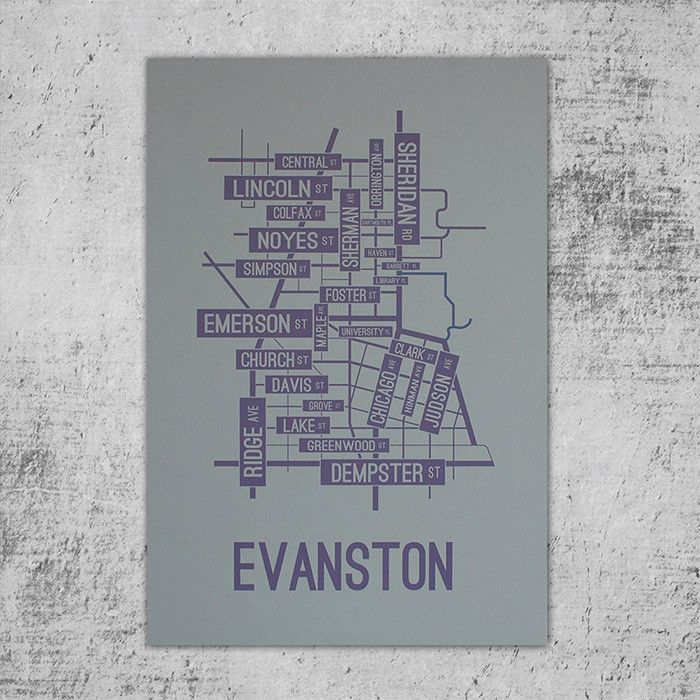 Northwest Suburbs Chicago Map%0A Evanston  Illinois Street Map Poster