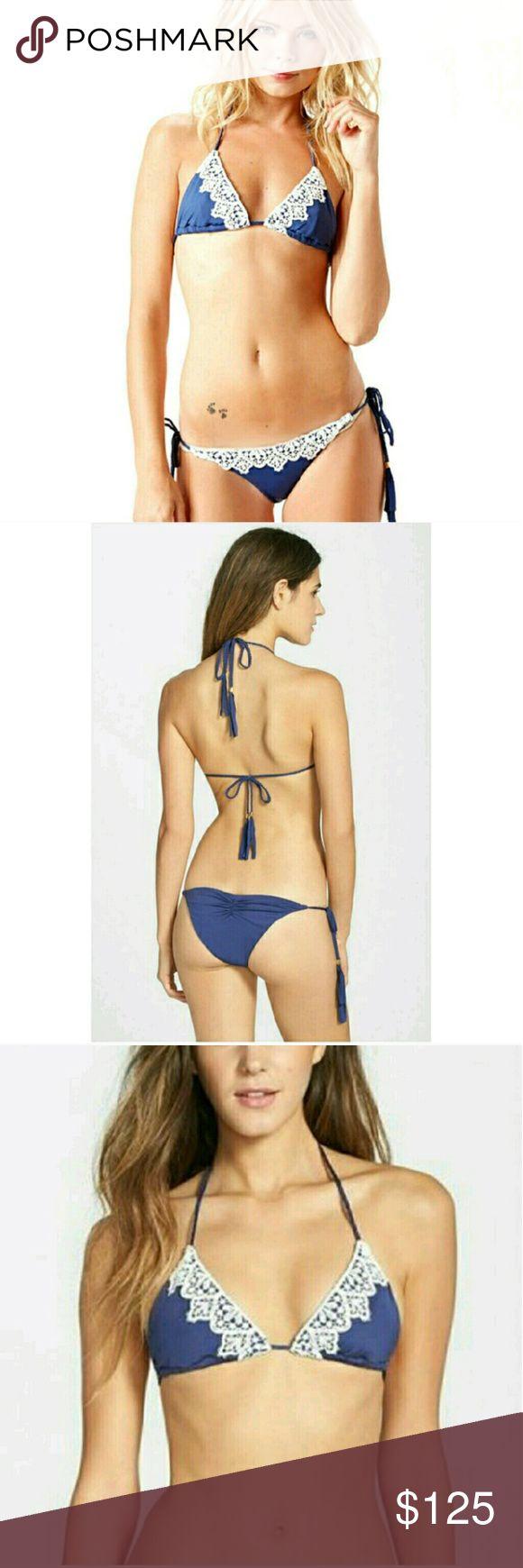 Blue Life Mirage bikini navy Bikini set with contrast crochet trim. Sliding triangle with braided ties.  Low rise bottom with side braided ties.   New! Blue Life Swim Bikinis