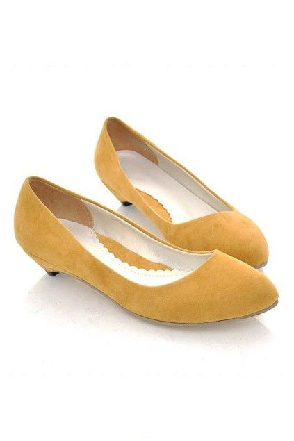 The shoes crafted in PU, featuring elegant feel with low cut and pointed toes, low kitten heels, suede leather appearance, and skidproof high quality sole.